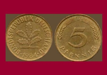 WEST GERMANY 1984 (D) 5 PFENNIG COIN KM#107 Europe - Federal Republic of Germany