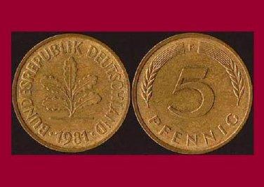 WEST GERMANY 1981 (F) 5 PFENNIG COIN KM#107 Europe - XF - Federal Republic of Germany