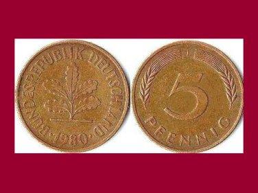 WEST GERMANY 1980 (J) 5 PFENNIG COIN KM#107 Europe - XF - Federal Republic of Germany