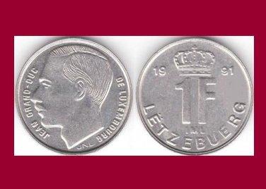 LUXEMBOURG 1991 1 FRANC COIN KM#63 Europe - Grand Duke Crown - BU - BEAUTIFUL!