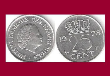 NETHERLANDS 1978 25 CENTS COIN KM#183 Europe - Queen Juliana - BU - BEAUTIFUL!