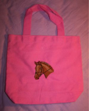 11 inch tote bag with pony head embroidery NEW