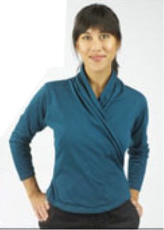 ORGANIC cotton Criss-cross YOGA STYLE top MEDIUM *teal*  NEW, NWT Maggie's Organics SALE!