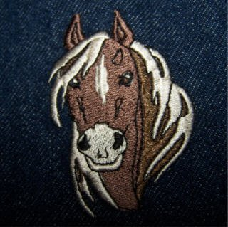 Pony embroidered jean denim RENNOC jacket, Medium nice gift for horse fans!