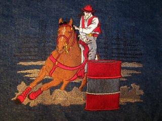 Barrel Racer denim jean jacket MEDIUM Western design shows horse & rider racing against time!