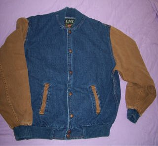 Horse Show Jumper jean denim jacket LARGE equestrian