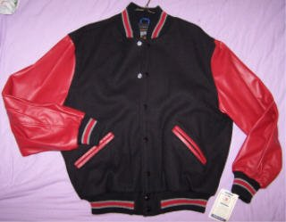 WOOL Varsity Jacket with LEATHER sleeves Medium MADE IN USA by Rennoc NWT nice gift