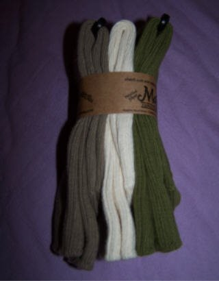 Organic cotton socks, three pack from Maggie's Organics, Khaki, Natural and Olive 10-13