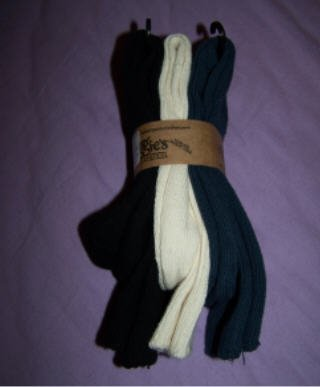 Organic cotton socks, three pack from Maggie's Organics, Navy, Natural and Black size 9-11