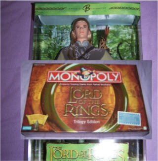 NIP Lord of the Rings Monopoly Trilogy Edition & Ken doll as Legolas from LOTR NEW