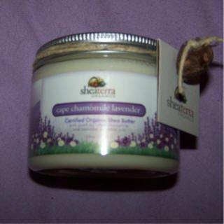 "100% shea butter by Shea Terra Organic ""Cape Camomile Lavender"" scent 6 oz. jar"