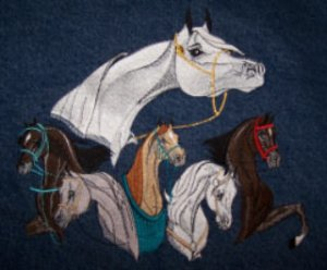 Arabian Horse embroidered large denim jean jacket perfect for equestrians in all disciplines!