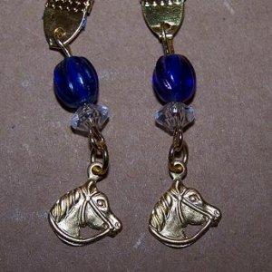 Handmade beaded horse bookmark with blue organza ribbon
