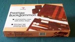 Prestige Backgammon by Cardinal Leatherette Case Good Cond.