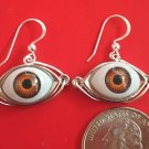 UNUSUAL BROWN EYEBALL EARRINGS ONE OF A KIND HANDMADE