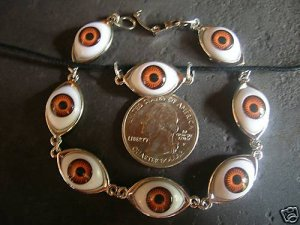 HANDMADE BROWN EYEBALL BRACELET PENDANT SET JEWELRY