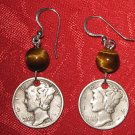 MERCURY LIBERTY DIME TIGERS EYE COIN EARRINGS VINTAGE