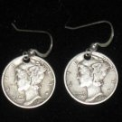925 STERLING SILVER COIN MERCURY DIME  EARRINGS