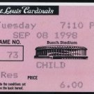 1998 Cardinals-Cubs Ticket Mark McGwire's 62nd Home Run