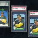 Oakland A's JOSE CANSECO Graded Topps/Fleer RC Lot, PSA