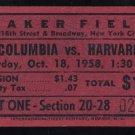 1958 Columbia vs Harvard Football Ticket Stub