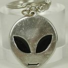 NEW ~ ALIEN HEAD w/Black Eyes: Metal KEYCHAIN Key-Chain