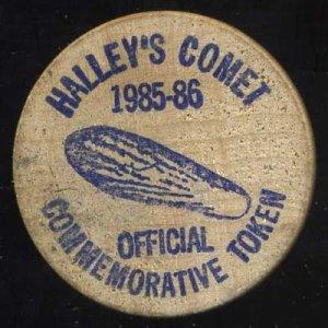 1985 Halley's Comet Club Wooden Nickel/Token