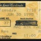 1998 Cardinals Ticket-McGwire's 98 Season 37th Home Run