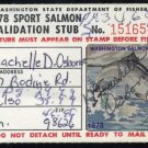 1978 Washington State Salmon Stamp with Validation Stub