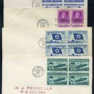 1950s First Day Cover Lot w/Stamp Blocks; 988, 1010++