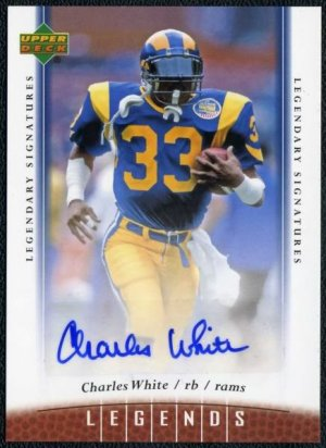 2006 UD Legends CHARLES WHITE Auto Card Rams, Heisman
