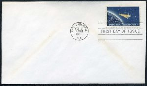 1962 4¢ Project Mercury (Space) Stamp FDC US Scott 1193