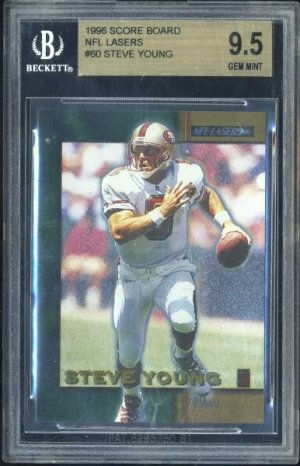 1996 NFL Lasers #60 STEVE YOUNG Card BGS 9.5 49ers
