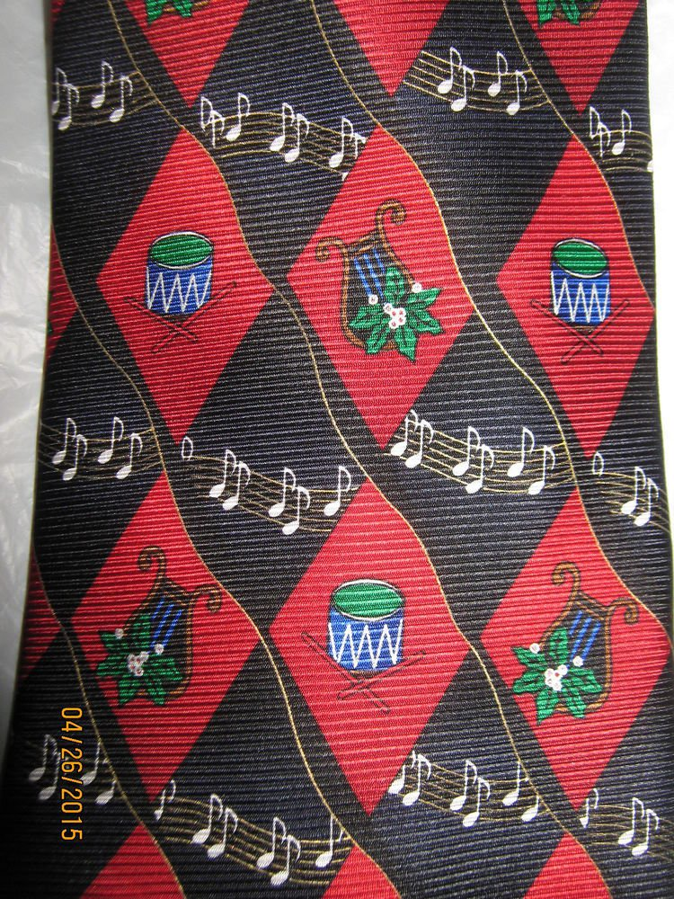 Men's Christmas Neck Tie - Multicolor with Music Notes/Drums/Pointsetta