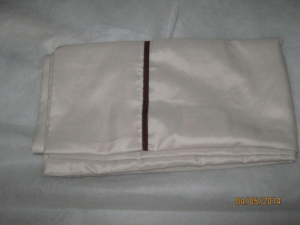 New 1 Kohl's Home Classics King Pillow Case Cream w/Eggplant Edg 36x20 100% Poly