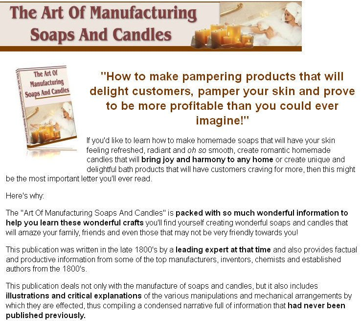 The Art of Making Soaps and Candles eBook on CD Printable