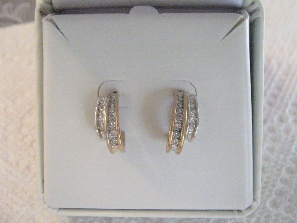 White & Yellow Gold Diamond Channel Set Earrings 10 kt NEW