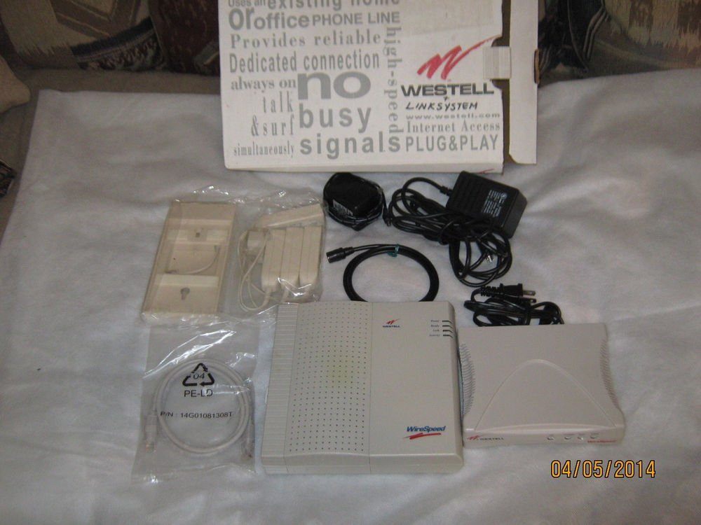 Westell Plug & Play Modem-Router Combo complete with Cables, Plugs & Box