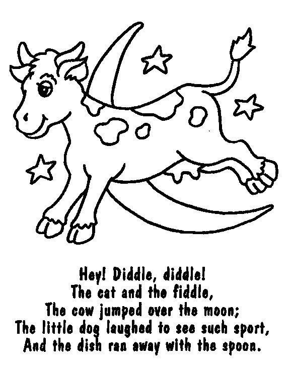 Nursery Rhymes Printable Coloring eBook on CD  54 Pages