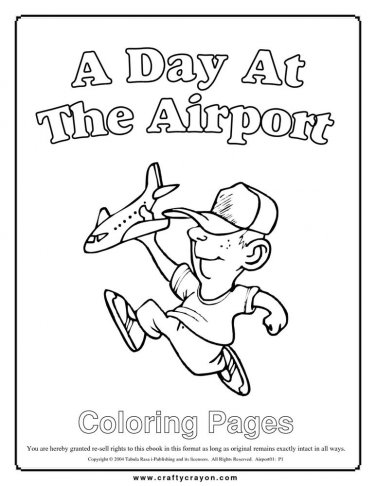 A Day at the Airport Printable Coloring eBook 67 Pages on a CD
