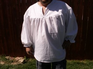 XSMALL White Primitive Renaissance Ghillie Jacobite Drop Yoke Kilt Shirt