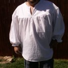 SMALL White Primitive Renaissance Ghillie Jacobite Drop Yoke Kilt Shirt
