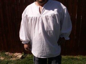 SMALL White Primitive Renaissance Ghillie Jacobite Drop Yoke Kilt Shirt