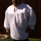 MEDIUM White Primitive Renaissance Ghillie Jacobite Drop Yoke Kilt Shirt