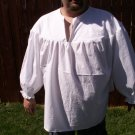 Large White Primitive Renaissance Ghillie Jacobite Drop Yoke Kilt Shirt