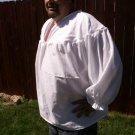 XLarge White Primitive Renaissance Ghillie Jacobite Drop Yoke Kilt Shirt