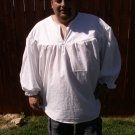 3XL White Primitive Renaissance Ghillie Jacobite Drop Yoke Kilt Shirt