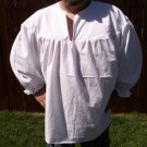 4XL White Primitive Renaissance Ghillie Jacobite Drop Yoke Kilt Shirt