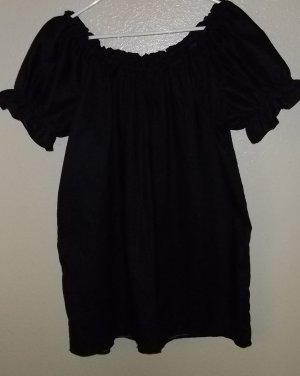 LARGE BLACK Womens Renaissance Faire Short Sleeve Blouse Chemise