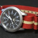 Red and Sand Stripe 18mm Nato Nylon Watch Strap